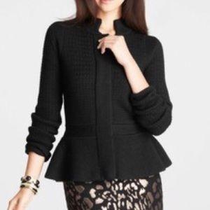 Ann Taylor Wool Peplum Sweater Jacket